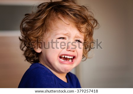 A Crying Little Baby Boy - stock photo