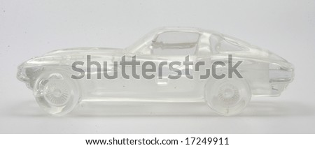 A crystal Corvette as seen from the side - stock photo