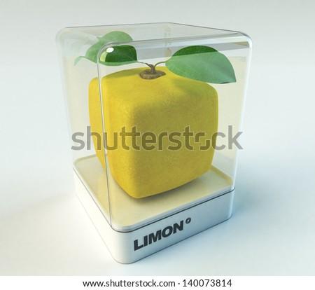 A cubic lemon in a showcase - stock photo