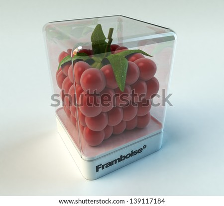 A cubic raspberry in a showcase with the word framboise  (Raspberry, French) - stock photo