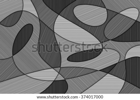 A Cubist Abstract Background with Swirling Lines and Brushed Metal Texture - stock photo
