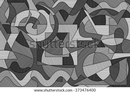 A Cubist Abstract Background with Swirling Lines and Shapes and Brushed Metal Texture - stock photo