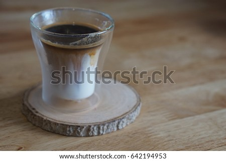 A cup Coffee  on wood coaster
