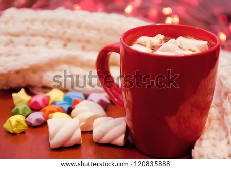A cup of cacao with marshmallow - stock photo