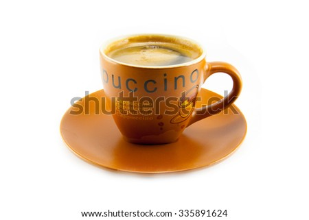 A cup of cappuccino on white background isolated - stock photo