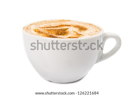 A Cup of Cappuccino with Froth, Cinnamon  isolated on a White background - stock photo