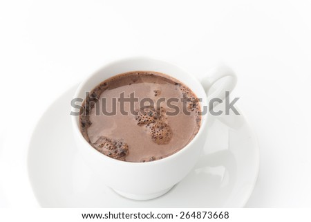 a cup of chocolate on white - stock photo
