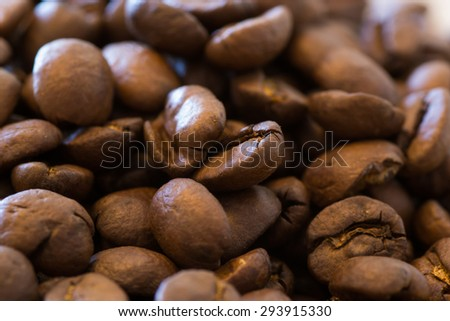 A cup of coffe with coffee bean as background