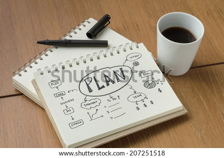 A Cup of Coffee and Concept Idea Plan Sketch with Pen - stock photo