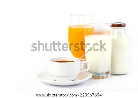 A cup of coffee, glass of orange juice and milk and milk bottle - stock photo
