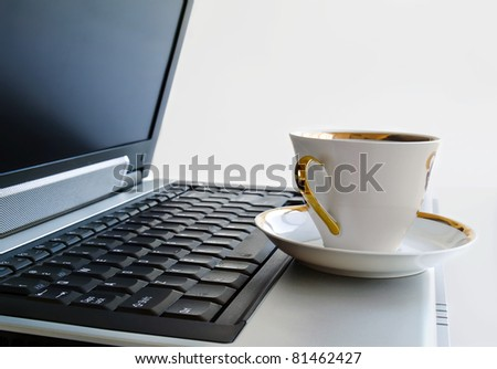 A cup of coffee on the laptop.