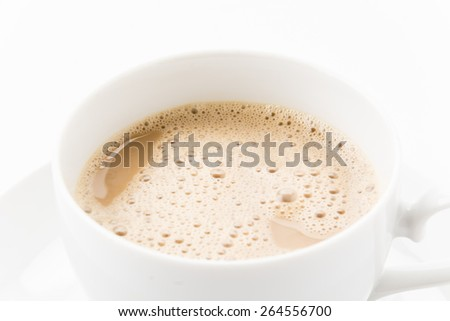 a cup of coffee on white - stock photo