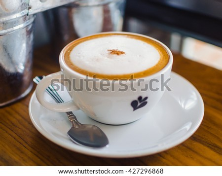 A cup of espresso coffee on bar counter