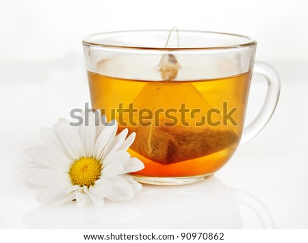 a cup of fragrant green tea with a triangular teabag