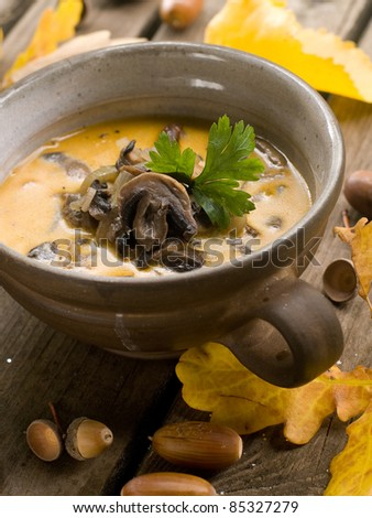 A cup of fresh mushroom soup.  Selective focus - stock photo
