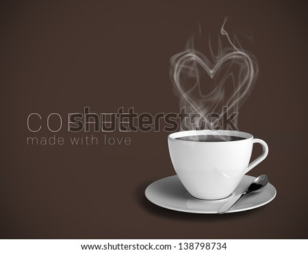 "A cup of great coffee with a steamy heart. Brown background and caption saying ""Coffee made with love"". Easily insert your own text."