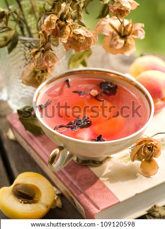 A cup of herbal tea, selective focus - stock photo