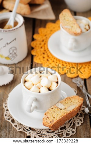 A Cup of Hot Chocolate with Pumpkin and Almond Biscotti, copy space for your text