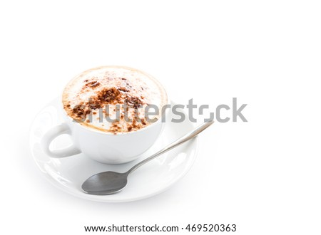 A cup of hot coffee cappuccino or mocha on plate with spoon on white background