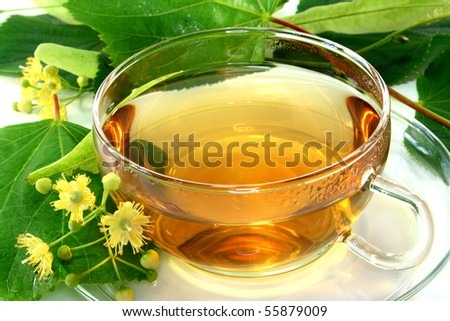 a cup of lime blossom tea with fresh flowers