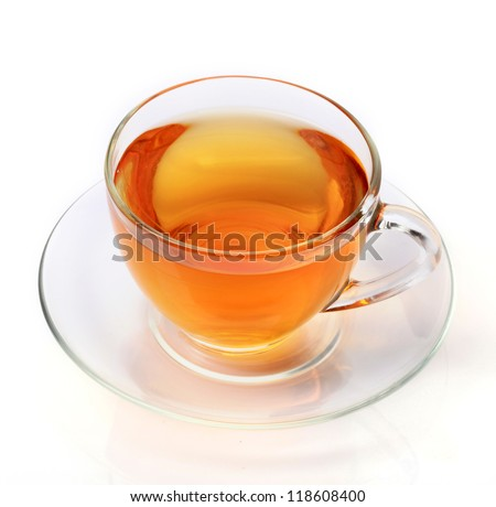 A cup of tea  isolated on white