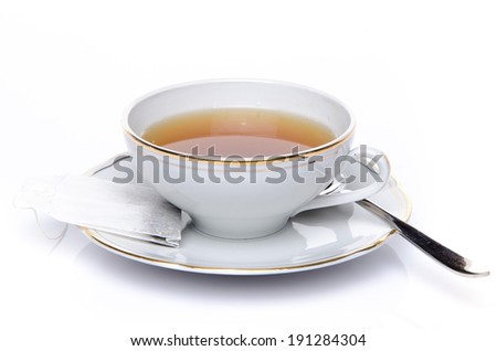 A cup of tea, isolated on white