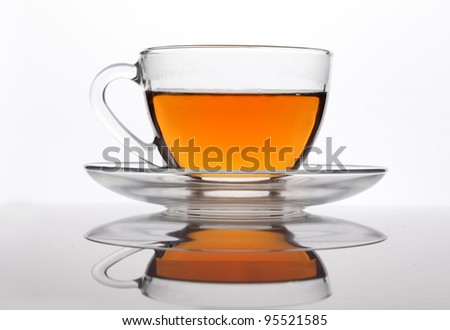 A cup of tea isolated on white - stock photo