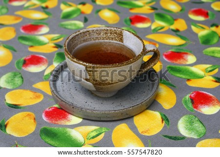 a cup of tea on table .still life with tea cup.(selective focus)