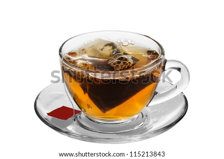 A cup of tea with tea bag, on white background