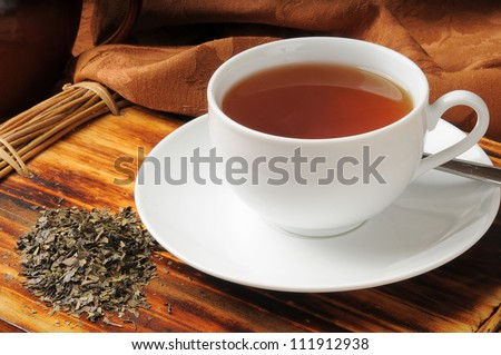 A cup of whole leaf lapsang souchong tea, a rich smoky flavored tea
