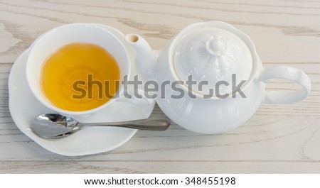 a cup tea with teapot