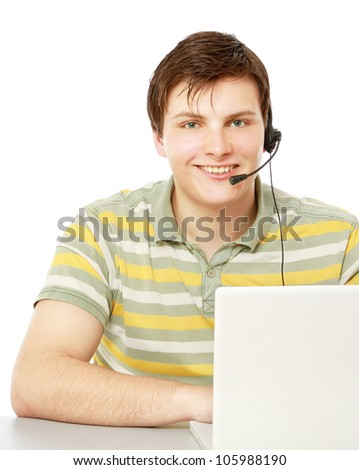 A customer service agent, isolated on white - stock photo