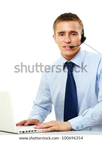 A customer service agent, isolated on white background - stock photo