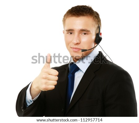 A customer service agent showing ok, isolated on white background - stock photo