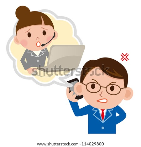 A customer support operator is bombarded with questions and complaints - stock photo