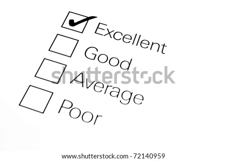 A customer survey checklist. Shallow depth of field. Focus on excellent.