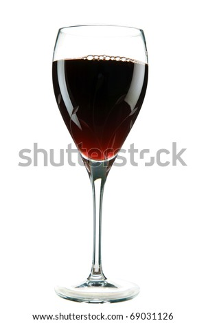 """a cut crystal wine glass filled with sweet red wine also known to some as the """"Nectar Of The Gods"""" isolated on white with room for your text - stock photo"""