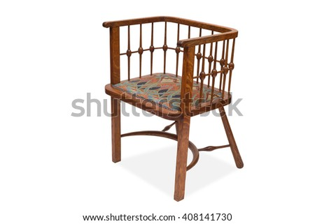 A cut-out of a vintage wooden dining chair.