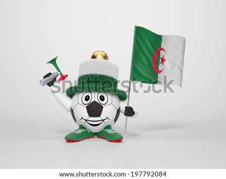 A cute and funny soccer character holding the national flag of Algeria and a horn dressed in the colors of Algeria on bright background supporting his team