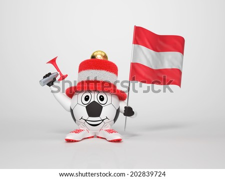 A cute and funny soccer character holding the national flag of Austria and a horn dressed in the colors of Austria on bright background supporting his team - stock photo