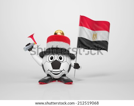 A cute and funny soccer character holding the national flag of Egypt and a horn dressed in the colors of Egypt on bright background supporting his team - stock photo