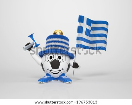 A cute and funny soccer character holding the national flag of Greece and a horn dressed in the colors of Greece on bright background supporting his team