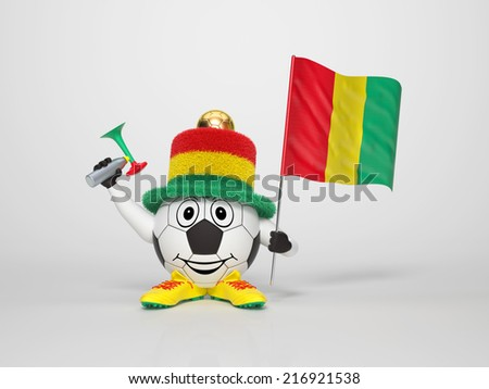 A cute and funny soccer character holding the national flag of Guinea and a horn dressed in the colors of Guinea on bright background supporting his team - stock photo