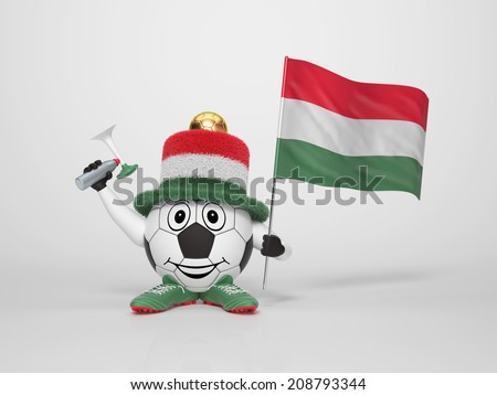 A cute and funny soccer character holding the national flag of Hungary and a horn dressed in the colors of Hungary on bright background supporting his team