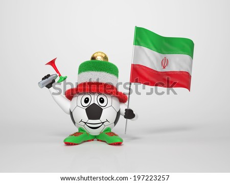 A cute and funny soccer character holding the national flag of Iran and a horn dressed in the colors of Iran on bright background supporting his team