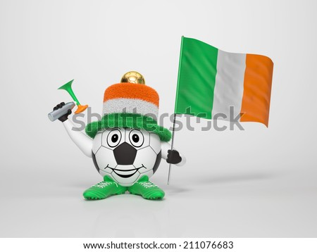 A cute and funny soccer character holding the national flag of Ireland and a horn dressed in the colors of Ireland on bright background supporting his team