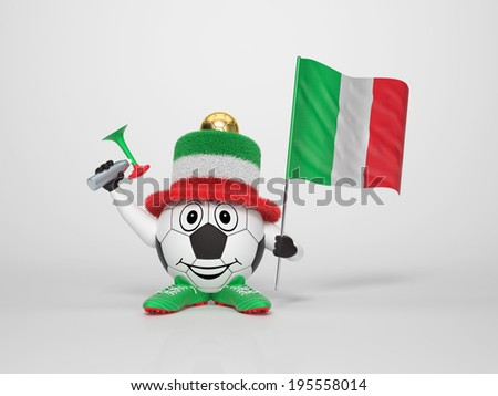 A cute and funny soccer character holding the national flag of Italy and a horn dressed in the colors of Italy on bright background supporting his team - stock photo