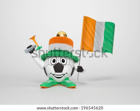 A cute and funny soccer character holding the national flag of Ivory Coast and a horn dressed in the colors of Ivory Coast on bright background supporting his team