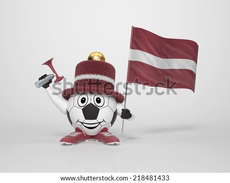 A cute and funny soccer character holding the national flag of Latvia and a horn dressed in the colors of Latvia on bright background supporting his team