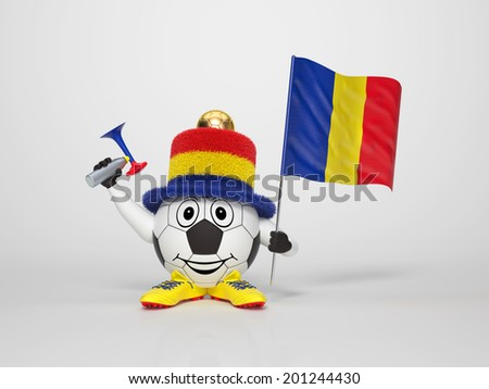 A cute and funny soccer character holding the national flag of Romania and a horn dressed in the colors of Romania on bright background supporting his team - stock photo